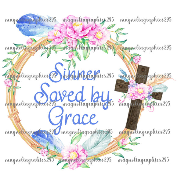 Sinners Saved by Grace Printable Design PNG-Embroidery Boutique
