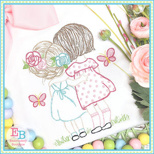 Sisters Butterflies Watercolor Embroidery Design, Embroidery
