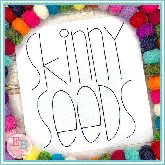 Skinny Seeds Bean Embroidery Font, Embroidery Font