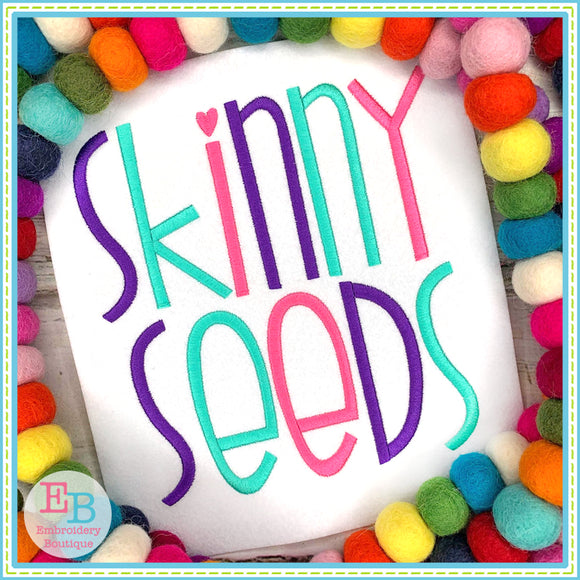 Skinny Seeds Satin Embroidery Font