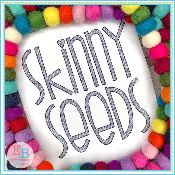 Skinny Seeds Sketch Embroidery Font, Embroidery Font