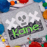 Skull Bones Box Zig Zag Stitch Applique Design, Applique