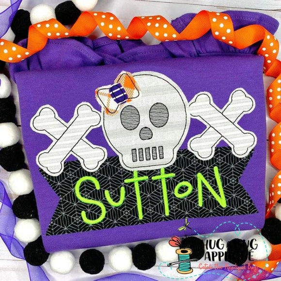 Skull Bow Bones Box Bean Stitch Applique Design, Applique
