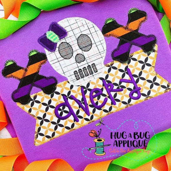 Skull Bow Bones Box Zig Zag Stitch Applique Design, Applique