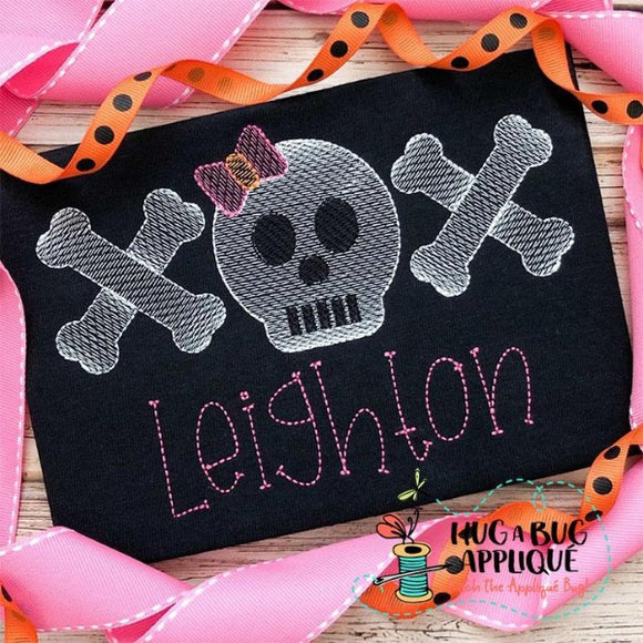 Skull Bow Bones Trio Sketch Stitch Embroidery Design, Embroidery