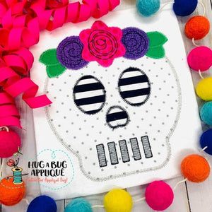 Skull Flowers Zig Zag Stitch Applique Design, Applique