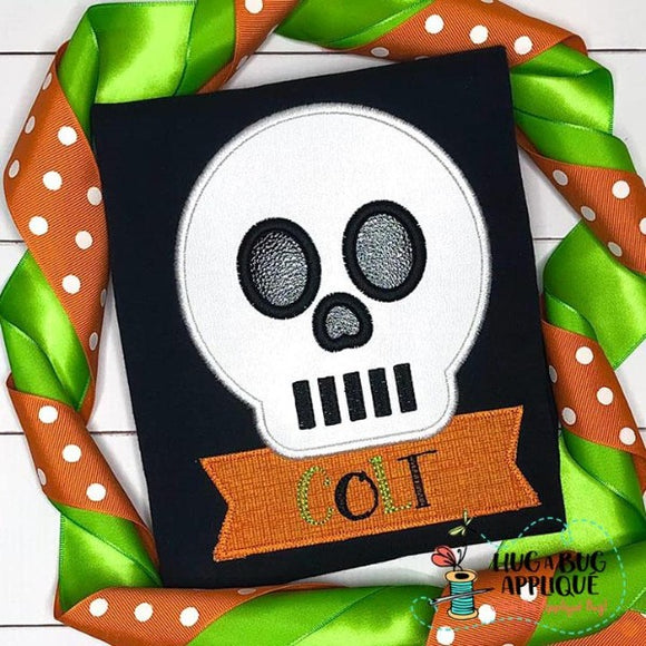 Skull Satin Stitch Applique Design, Applique