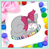 Sleeping Cat Bean Stitch Applique, Applique
