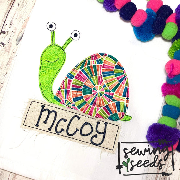 Snail with Name Tag Applique SS - Sewing Seeds