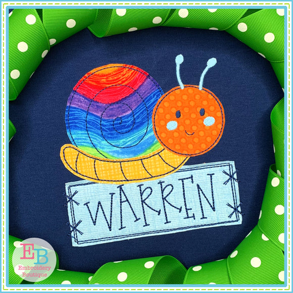 Snail Banner Bean Stitch Applique, Applique