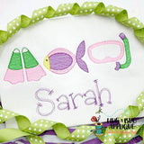 Snorkel Trio Sketch Stitch Embroidery Design