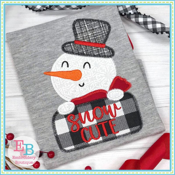 Snow Cute Boy Applique, Applique