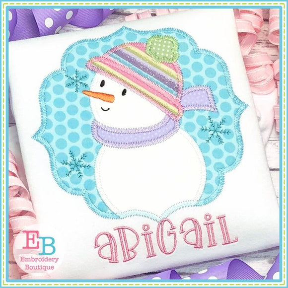 Snowman Girl Box Zigzag Applique