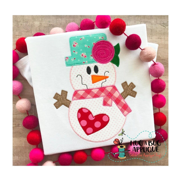 Snow Girl Heart Zig Zag Stitch Applique Design, Applique