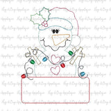 Snowgirl Lights Box Bean Stitch Applique Design, Applique