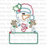 Snowgirl Lights Box Zig Zag Stitch Applique Design, Applique
