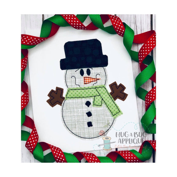 Snowman Bean Stitch Applique Design, Applique