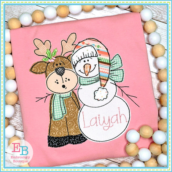 Snowman Reindeer Bean Stitch Applique, Applique