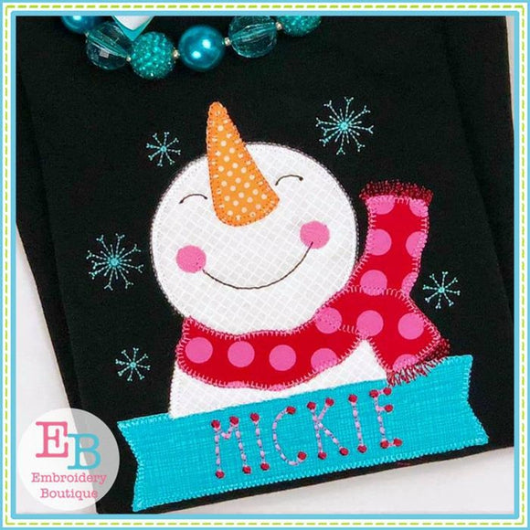 Snowman Banner Applique - embroidery-boutique