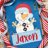 Snowman Lights Box Zig Zag Stitch Applique Design, Applique