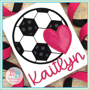 Soccer Heart Satin Applique, Applique