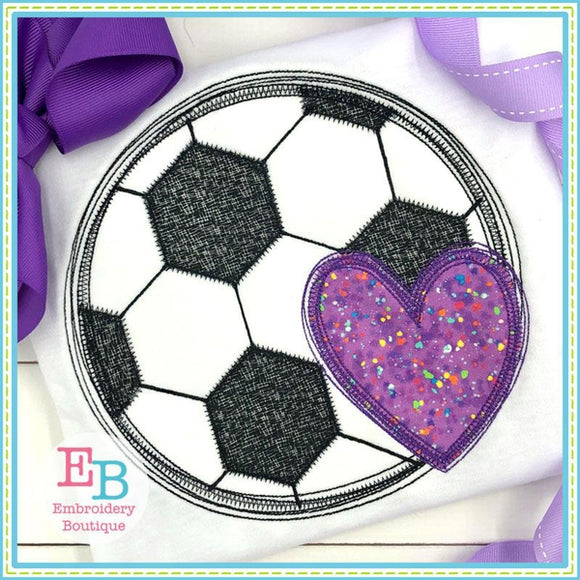 Soccer Heart Scribble Applique