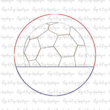 Soccer Ball Split Circle Bean Stitch Applique Design, Applique