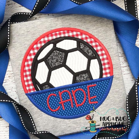 Soccer Ball Split Circle Satin Stitch Applique Design, Applique
