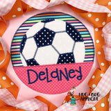 Soccer Ball Split Circle Zig Zag Stitch Applique Design, Applique