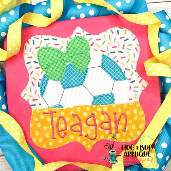 Soccer Bow Split Frame Bean Stitch Applique Design, Applique