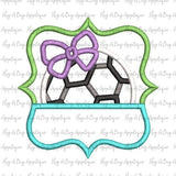 Soccer Bow Split Frame Satin Stitch Applique Design, Applique