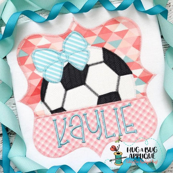 Soccer Bow Split Frame Zig Zag Stitch Applique Design, Applique