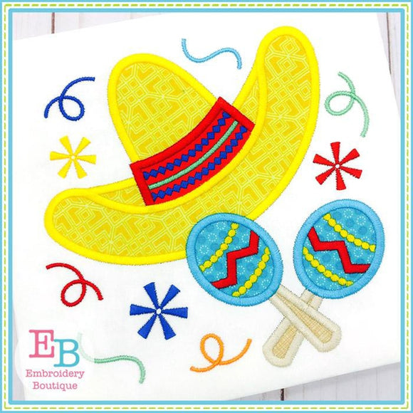 Sombrero and Maracas Applique