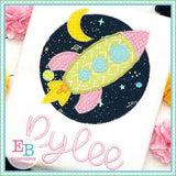 Space Ship Circle Zigzag Applique