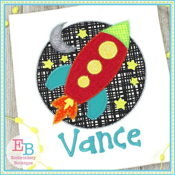 Space Ship Circle Zigzag Applique, Applique