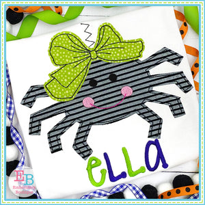 Spider Big Bow Bean Stitch Applique, Applique
