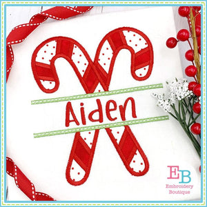 Split Candy Canes Applique