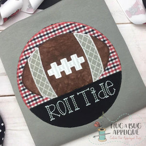 Football Split Circle Zig Zag Stitch Design, Applique