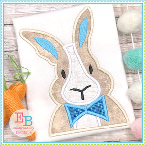 Bunny Bowtie Satin Applique-Embroidery Boutique