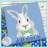 Bunny Bow Tie Zigzag Applique, Applique