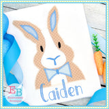 Bunny Bow Tie Zigzag Applique