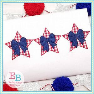 Vintage Star Bow Trio Applique, Applique