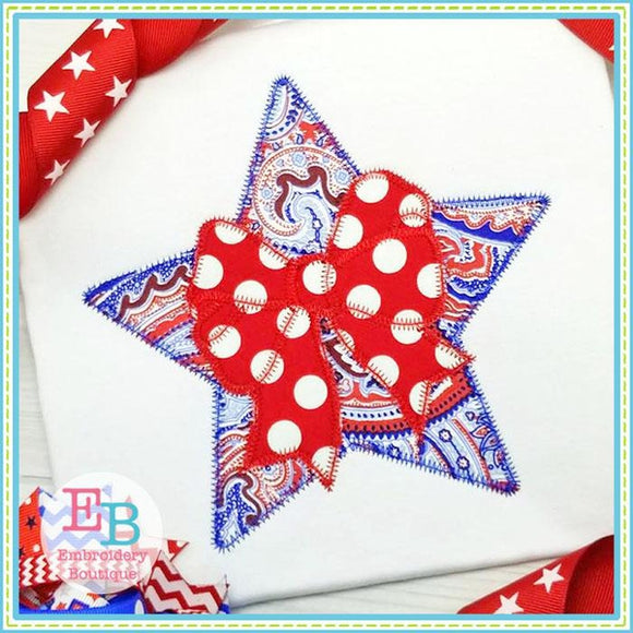 Star Bow 2 Zigzag Applique, Applique
