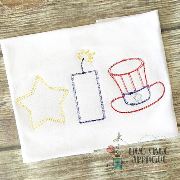 Star Hat Firecracker Trio Scribble Embroidery Design, Embroidery