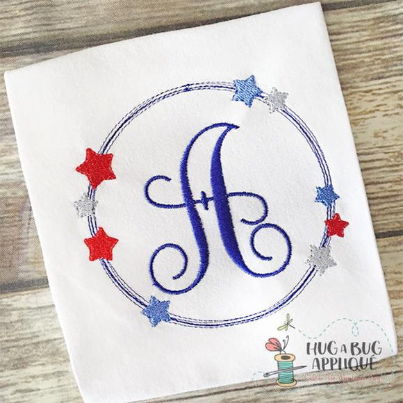 Star Scribble Circle Frame Embroidery Design, Embroidery