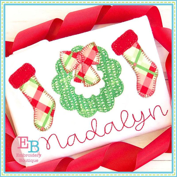 Wreath Trio Blanket Stitch Applique, Applique