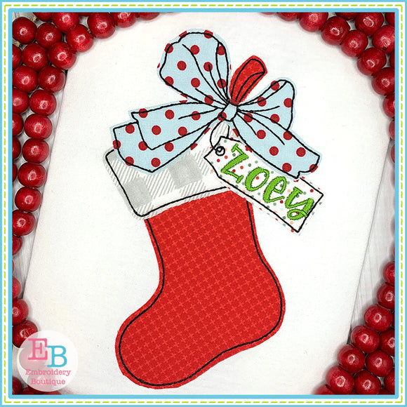 Stocking Big Bow Bean Applique