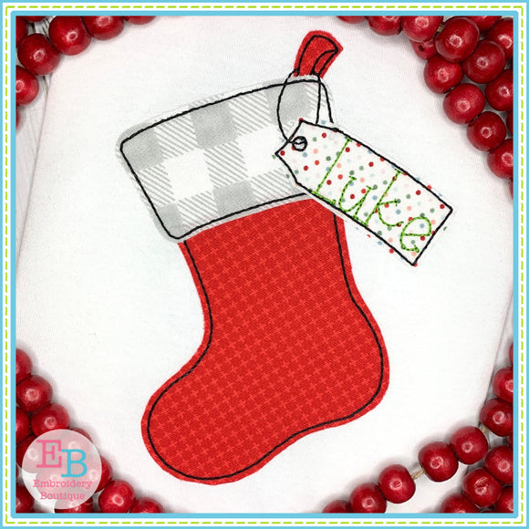 Stocking Tag Bean Applique