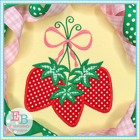 Strawberry Bunch Satin Applique, Applique