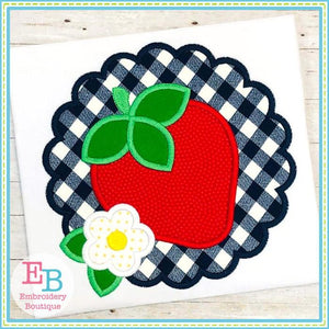 Strawberry Scallop Satin Applique